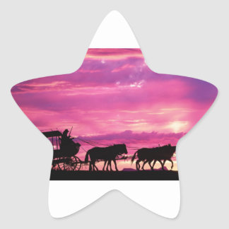 Stagecoach At Sunset Star Sticker