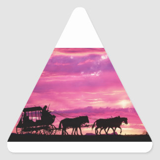 Stagecoach At Sunset Triangle Sticker