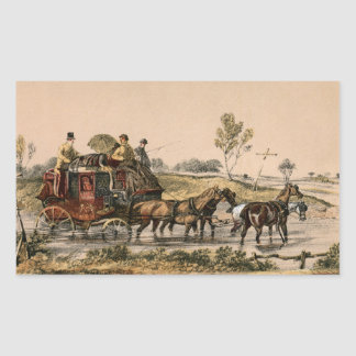 Stagecoach crossing a ford rectangular sticker