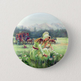 STAGECOACH & FLOWERS by SHARON SHARPE Pinback Button