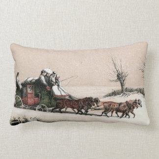Stagecoach in the Snow Throw Pillow