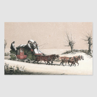 Stagecoach in the Snow Rectangle Stickers