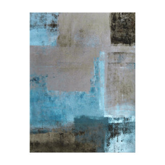 'Staged' Teal and Brown Abstract Art Canvas Print