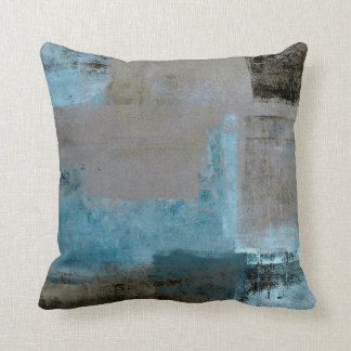'Staged' Teal and Brown Abstract Art Throw Pillow