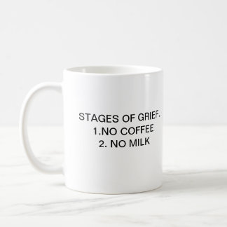 STAGES OF GRIEF.. 1.NO COFFEE CLASSIC WHITE COFFEE MUG