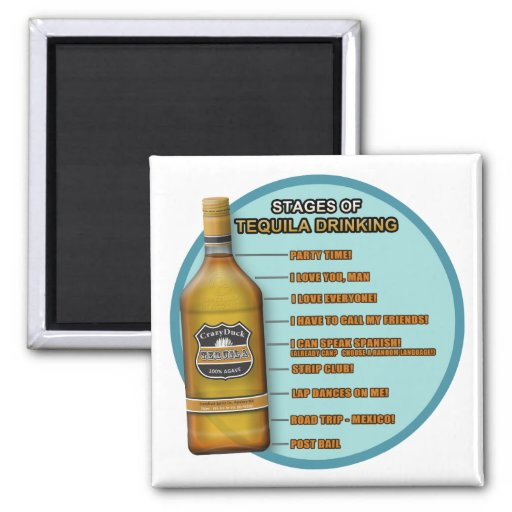 Stages of Tequila 2 Inch Square Magnet