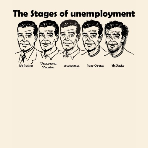 Stages of Unemployment Customizable T-Shirt shirt