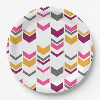 Staggered Arrows Modern Geometric Pattern Paper Plate