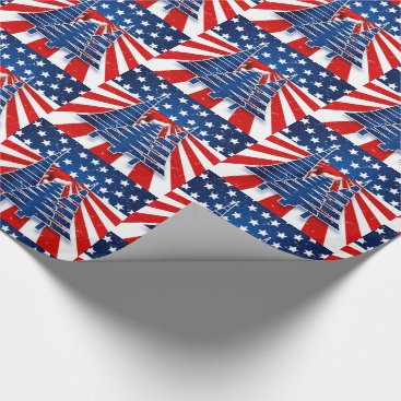 USA Themed Staggered Stars and Stripes Christmas Trees Wrapping Paper