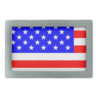 Staggered Stars and Stripes Rectangular Belt Buckle