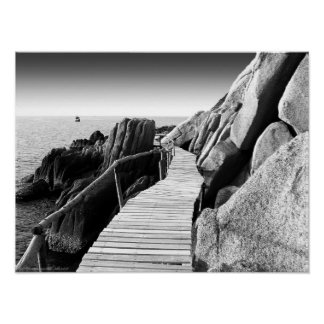 """""""Staggering Wooden Path in Black and White"""" photo Poster"""
