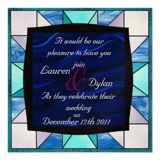 Stain Glass Design & Dark Blue Center Wedding Invi 5.25x5.25 Square Paper Invitation Card