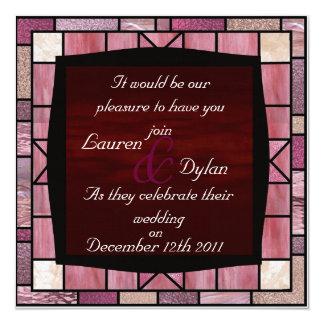 Stain Glass Design & Dark Reddish Wedding Invata 5.25x5.25 Square Paper Invitation Card