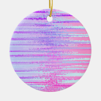 Stain Glass Effect Abstract Striped Colorful Print Ceramic Ornament