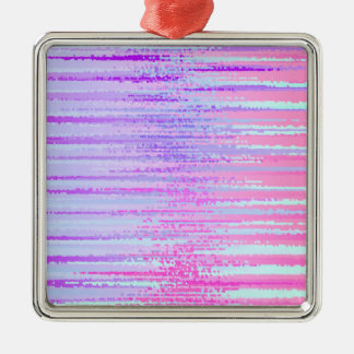 Stain Glass Effect Abstract Striped Colorful Print Metal Ornament