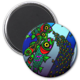 Stain Glass Fish 2 Inch Round Magnet