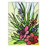 Stain Glass Flower Garden Card Greeting Card