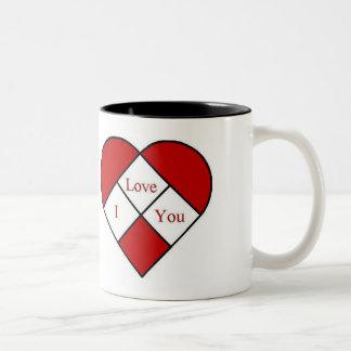"""Stain Glass """"I Love You"""" Heart Coffee Mug"""