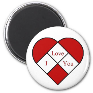 """Stain Glass """"I Love You"""" Heart Magnet"""