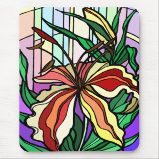 Stain Glass Lily Mousepad
