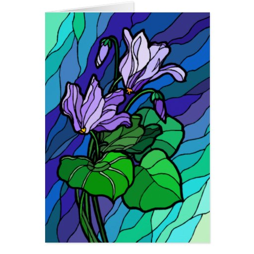 Stain Glass Purple Flower Card