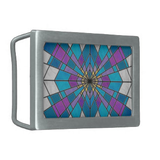 Stain Glass Ray Blue and Purple Rectangular Belt Buckle
