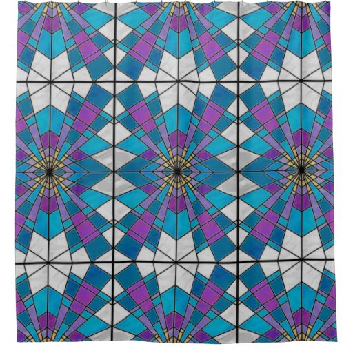 Stain Glass Ray Blue and Purple Shower Curtain