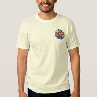 Stain Glass Sailboat Scene Embroidered T-Shirt