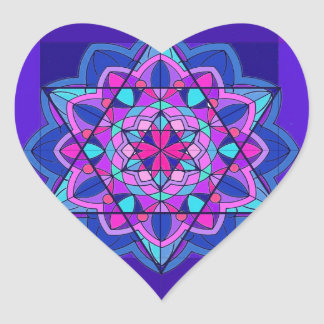 Stain Glass. The Star of David. Heart Sticker
