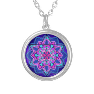 Stain Glass. The Star of David. Round Pendant Necklace