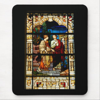 stain glass window at church mouse pad