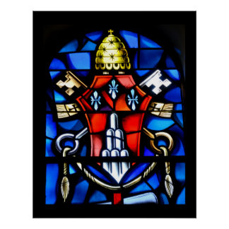 stain glass window at church poster