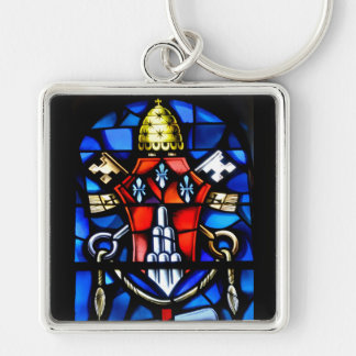 stain glass window at church Silver-Colored square keychain