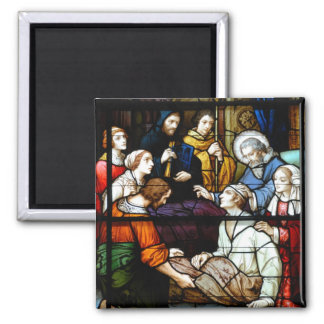 Stain Glass Window Saint Augustine 2 Inch Square Magnet
