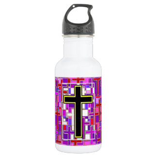 Staind Glass Cross Perspective. 18oz Water Bottle