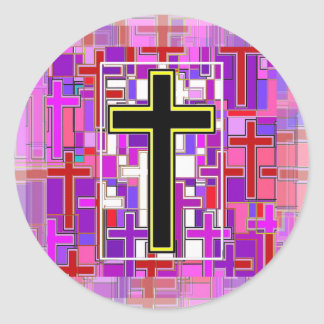 Staind Glass Cross Perspective. Classic Round Sticker