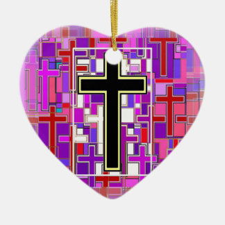 Staind Glass Cross Perspective. Double-Sided Heart Ceramic Christmas Ornament