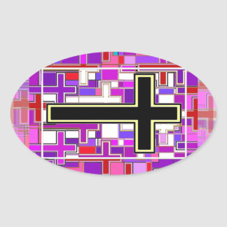 Staind Glass Cross Perspective. Oval Sticker
