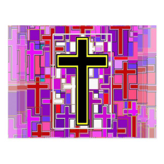 Staind Glass Cross Perspective. Postcard