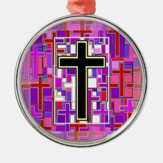 Staind Glass Cross Perspective. Round Metal Christmas Ornament
