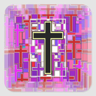 Staind Glass Cross Perspective. Square Sticker