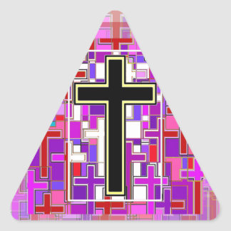 Staind Glass Cross Perspective. Triangle Sticker