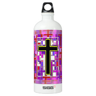 Staind Glass Cross Perspective. Water Bottle