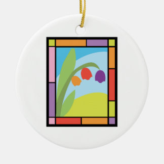 Staind Glass Tulips Double-Sided Ceramic Round Christmas Ornament