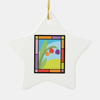 Staind Glass Tulips Double-Sided Star Ceramic Christmas Ornament