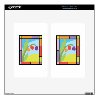 Staind Glass Tulips Kindle Fire Decals