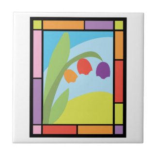 Staind Glass Tulips Small Square Tile
