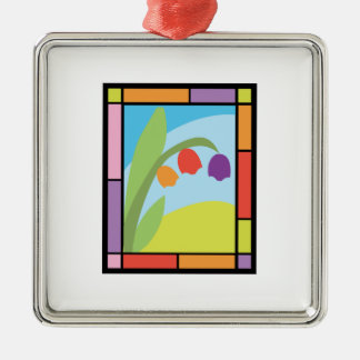 Staind Glass Tulips Square Metal Christmas Ornament