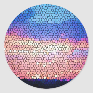 Stainded Glass of Sunset Classic Round Sticker