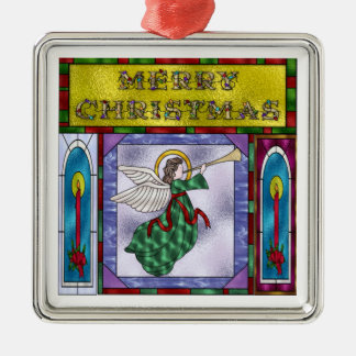 Stained Christmas Angel Metal Ornament